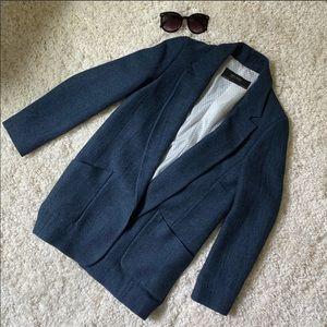 ZARA - blue blazer/coat (polka dot lining)